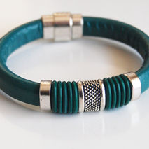Teal Green Licorice Leather And Green O ring  Bracelet- Bangle b
