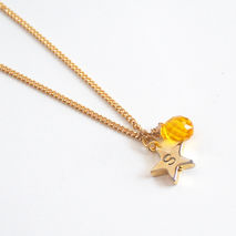 Yellow Quartz Star Pendant Necklace