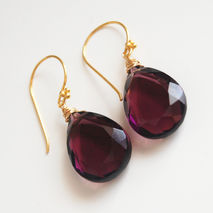 Gorgeous AAA  Plum   Quartz  Briolette Dangle Drop Earrings- Wed