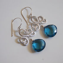Gorgeous London Blue Quartz dangle Earrings.