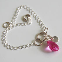 Hot Pink Quartz Bracelet- Wedding jewelry- Bridal Jewelry- Sterl