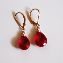 Ruby Red Quartz Dangle Drop Earrings- Wedding Jewelry- Bridal Je