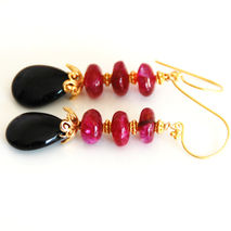 Ruby Red Color Rainbow Moonstone And Black Onyx Dangle Drop Earr