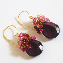 Plum  Quartz And Genuine Shaded Ruby  Cluster  Dangle Drop Earri