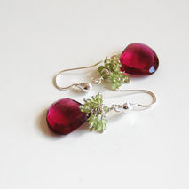 Hot Pink Rubelite And Peridot Cluster  Dangle Drop Earrings - We