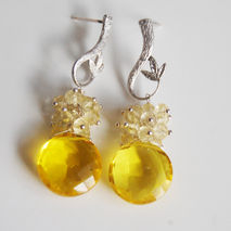 Gemstone Madeira Quartz and Yellow  Quartz Cluster  Drop Dangle