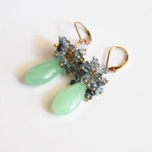 Apple Green Chalcedony And Moss Aquamarine Cluster Earrings- Dan