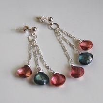 Pink And Green  Mystic quartz faceted heart briolette Dangle Dro