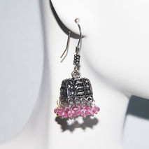 Chandelier Earrings -  Pink Quartz Chandelier Earrings - Jhumka