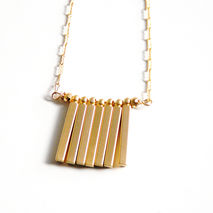 Bar Necklace- gold filled Necklace With Gold Plated Square Stick