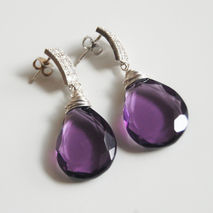 Gorgeous AAA Purple Quartz Briolette Dangle Drop Earrings- Weddi