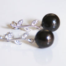 Black South Sea Pearl Earrings  -Pearl Dangle Drop Earrings-Wedd