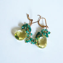 Lemon Quartz And Green Quartz   Cluster Dangle Drop Earrings- -
