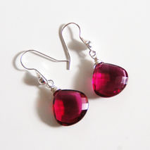 Hot Pink Rubelite Quartz Dangle Drop Earrings - Wedding Jewelry