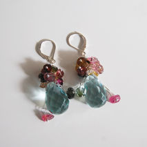 Gemstone cluster dangle  Earrings - Swiss blue crystal quartz br