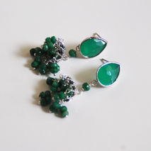 Chandelier Earrings-  Emerald Chandelier Earrings- Green glass d
