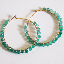 Shaded Green Quartz hoop Earrings -Gold filled Hoop Earrings- Un