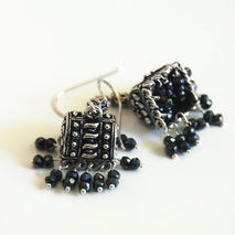 Chandelier Earrings - Black Spinel Chandelier Earrings - Jhumka