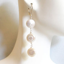 Coin Pearl Wedding Earrings- Wedding Jewelry- Bridal Jewelry- Co