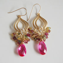 Gemstone - Cluster - Chandelier  Earrings -Hot pink Quartz And M