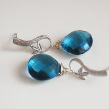 London Blue Quartz Drop Dangle Earrings- Wedding Jewelry - brida