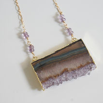 Gemstone Amethys Necklac-Amethyst Slices 24k gold edge double ba