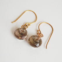 Gorgeous Smoky Quartz Disc Briolette Dangle Drop Earrings - Wedd