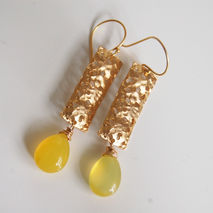 Yellow Chalcedony With textuted rectangle  Dangle Earrings
