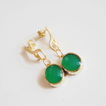 Glass Green Opal Framed gold plated Dangle Earrings