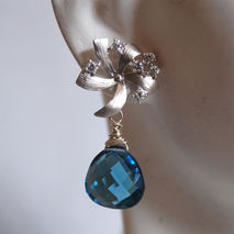 Beautiful London blue quartz and flower with cubic zirconia  ear