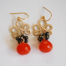 Cluster Earrings - Orange color Onion Briolette- Pyrite- Gemston