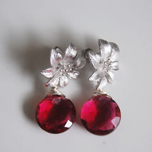 Gorgeous Pomegranate Pink quartz dangle Earrings