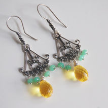 Gemstone  Chandelier  Earrings - AAA Yellow quartz and Chrysopra