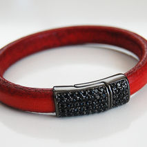 Red Licorice Leather Bracelet With Pave Magnetic Clasp- Leather