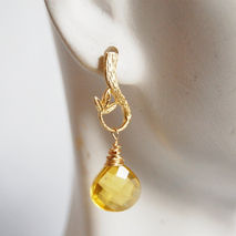 Gorgeous Lemon quartz heart briolette earrings