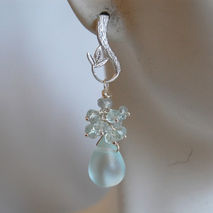 Light blue Apatite and  Mist light blue quartz briolette earring