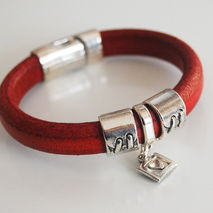 Red Licorice Leather Bracelet-Bangle bracelet- charm Bracelet -
