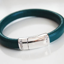 Teal Green Licorice Leather Bracelet With silver Pave Magnetic C