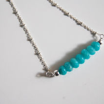 Bar Necklace- Brazilian Amazonite Bar Necklace - Gemstone Amazon