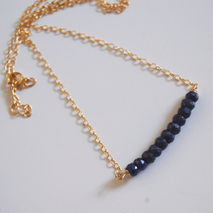 Genuine Dark Blue Sapphire  necklace with Gold filled Chain