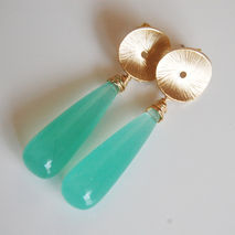 Aqua color smooth long drop quartz briolette earrings with round