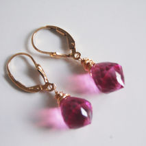 GemstoneHot Pink Quartz Drop Dangle Earrings- Wedding jewelry- B
