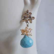 Turquoise Blue Quartz And Fresh Water Pearls Dangle Earrings