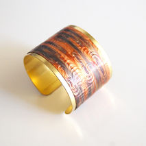 Cuff Bracelet --Solid Brass Bracelet with embossed copper patina