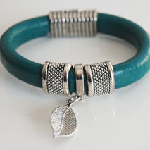 Teal Green Licorice Leather Bracelet- Bangle bracelet- Leaf  cha