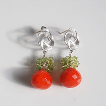 Orange Quartz - Peridot Cluster Dangle Drop  Earrings