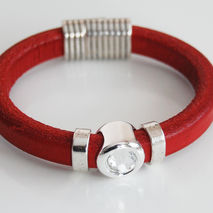 Red Licorice Leather Bracelet- Bangle bracelet-Crystal charm Bra