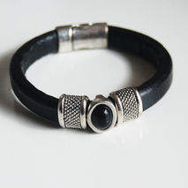 Black Licorice Leather Bracelet- Bangle bracelet-Hematite  stone