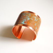 Cuff Bracelet --Solid Copper Bracelet with patina Design - Women