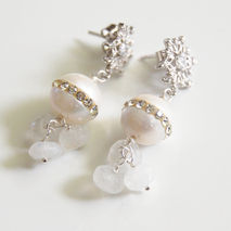 Wedding Earrings- Wedding Jewelry- Bridal Jewelry-Fresh Water Pe
